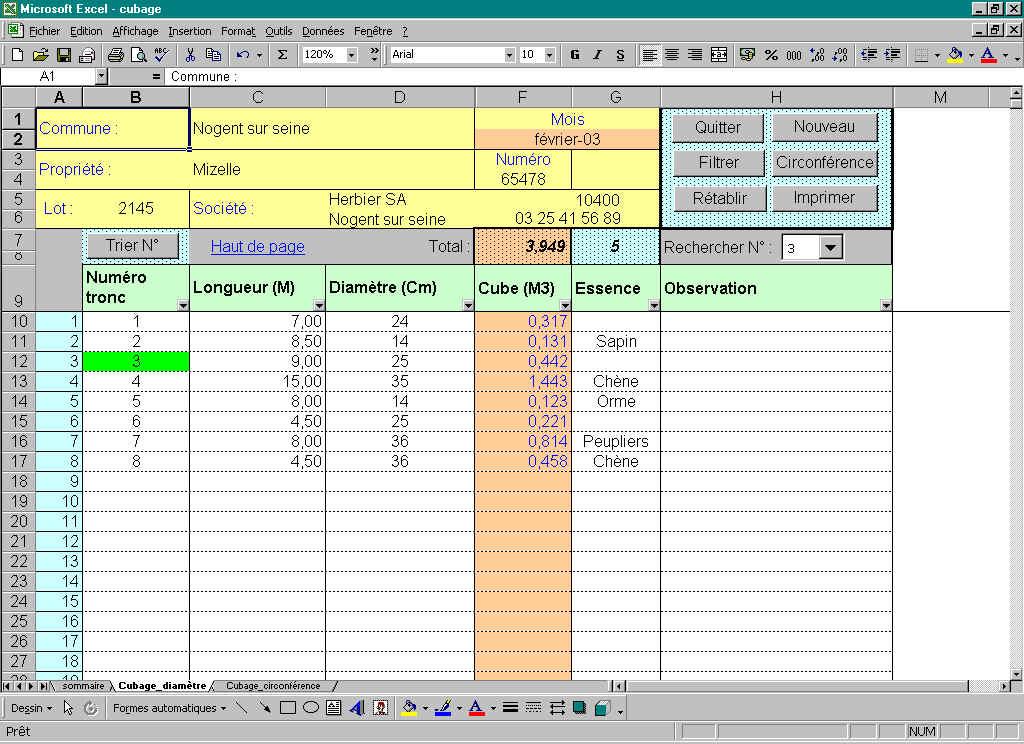 Aide astuces Excel ~ Calcul Cubage Bois