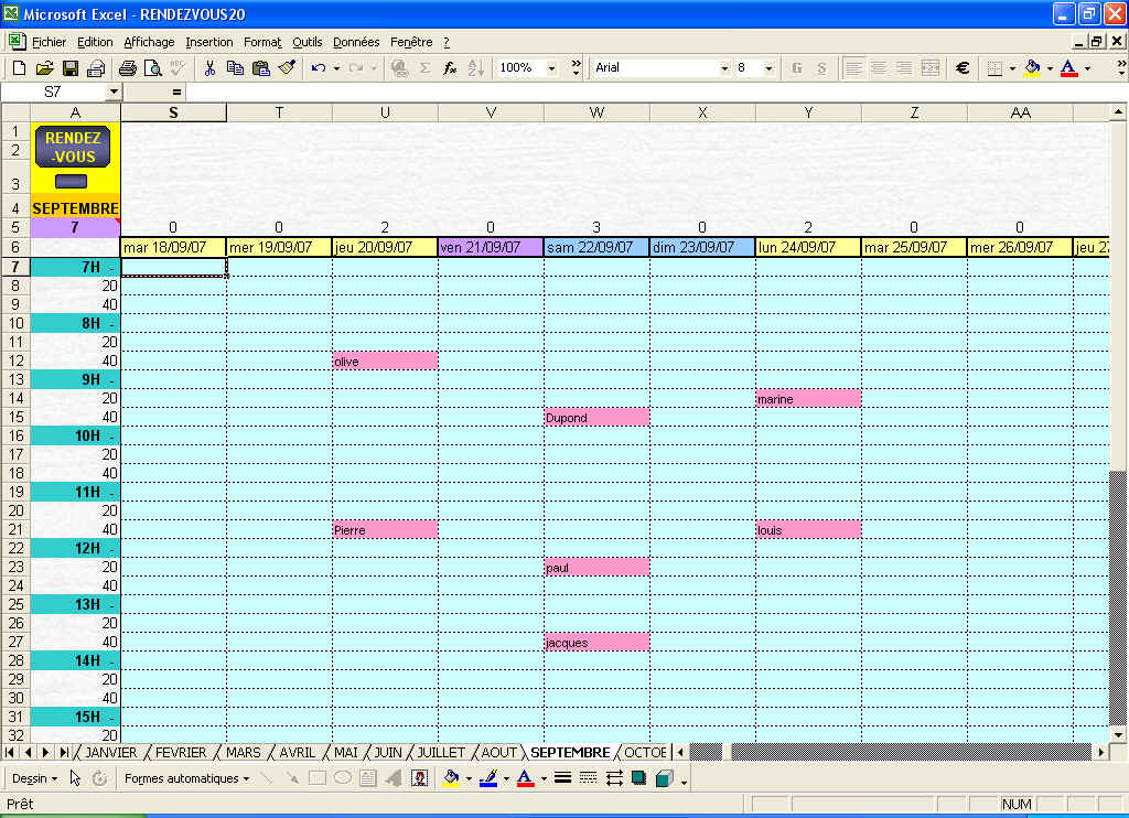 Planning excel gestion chantier