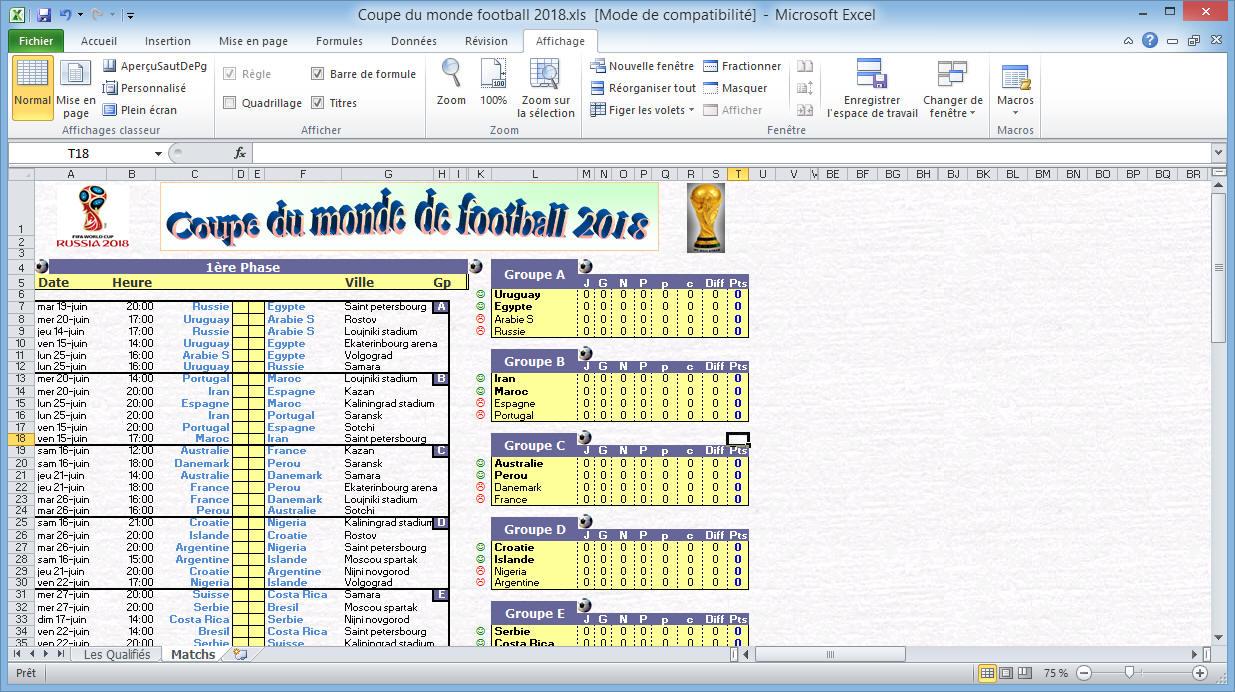 Coupe Du Monde De Football Calendrier.Calendrier De La Coupe Du Monde De Football 2018 Sur Excel